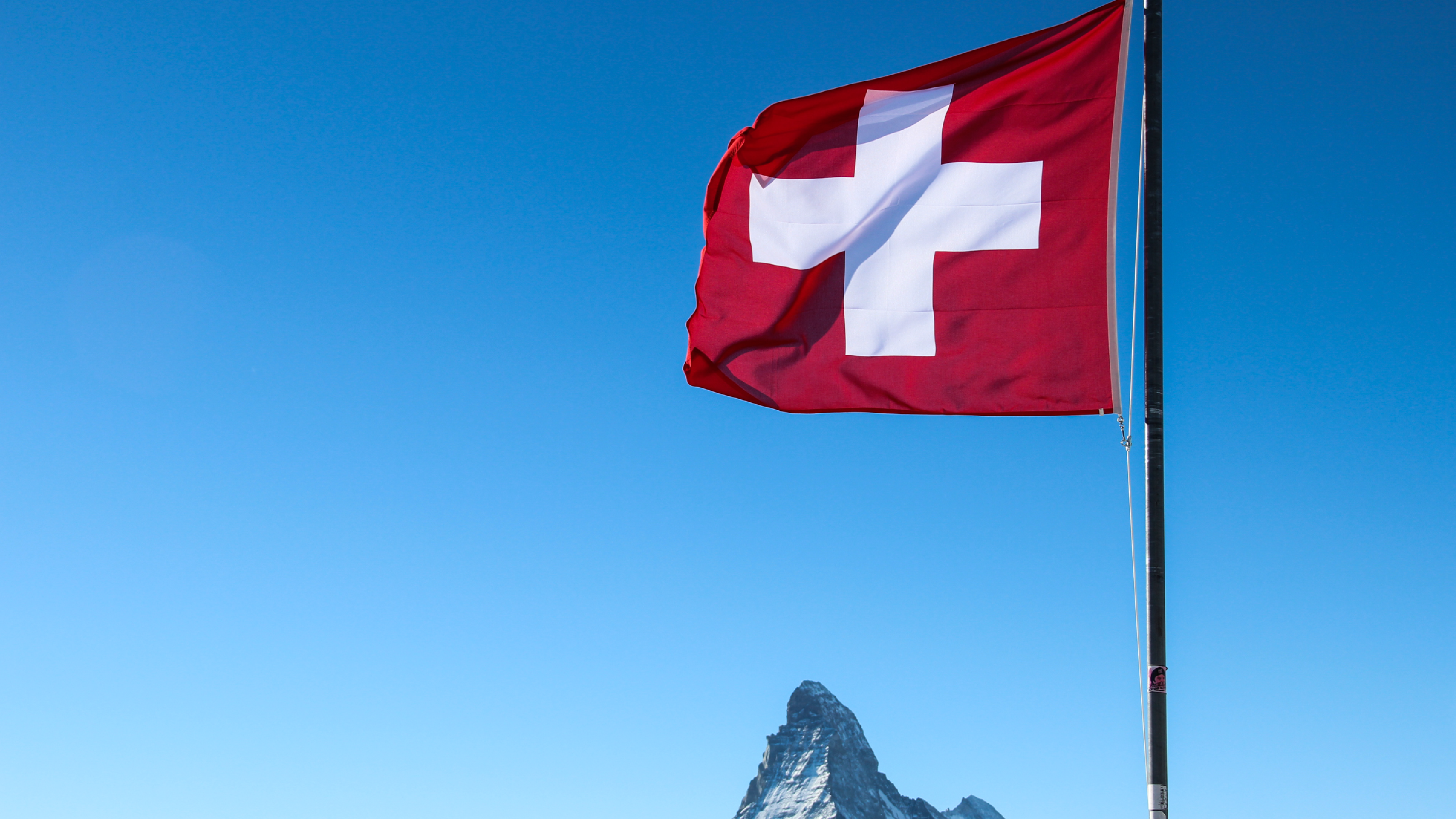 Swiss flag and Matterhorn