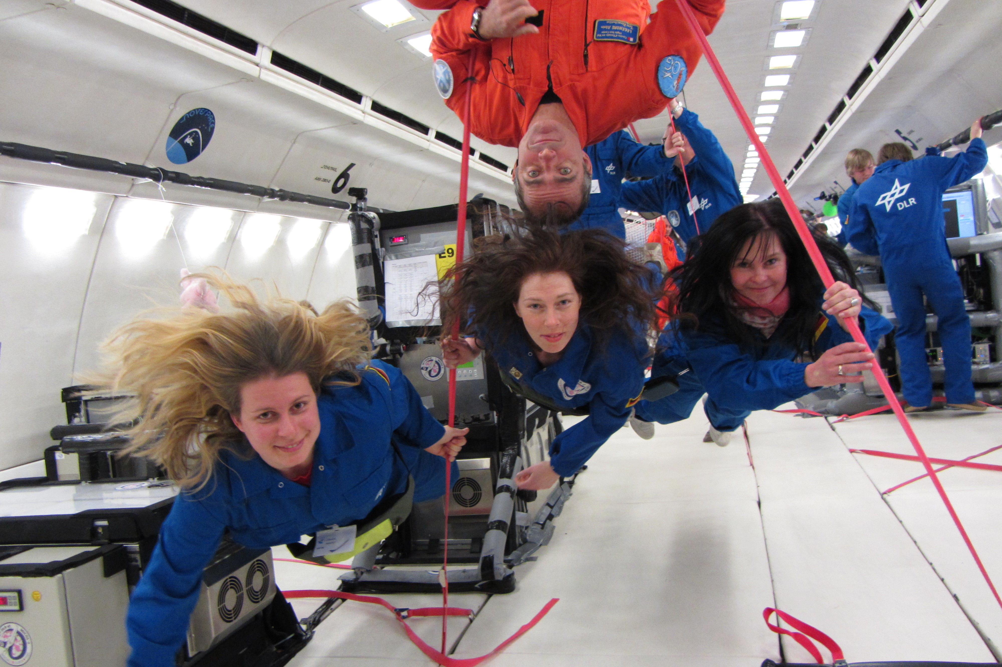 Space Hub team in zero gravity